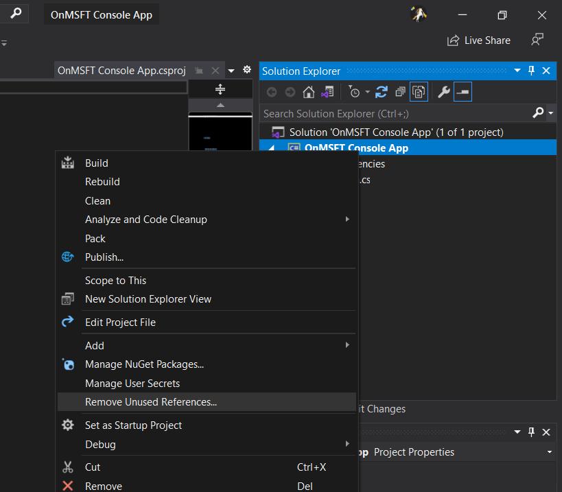 Visual studio remove unused references
