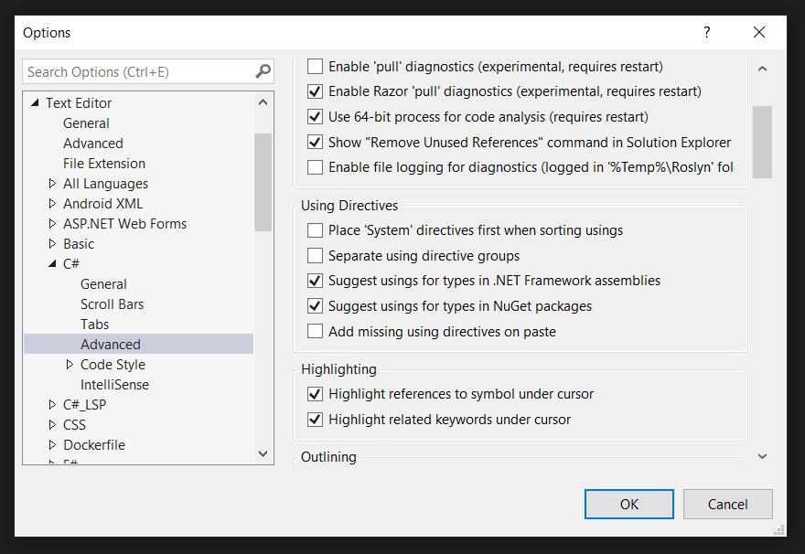 Visual studio add missing using directives