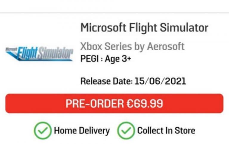 Microsoft flight simulator xbox series x listing