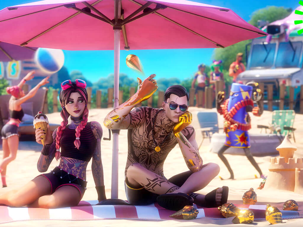 Midsummer midas on beach in fortnite chapter 2 season 7 on xbox series x and windows 10 and 11