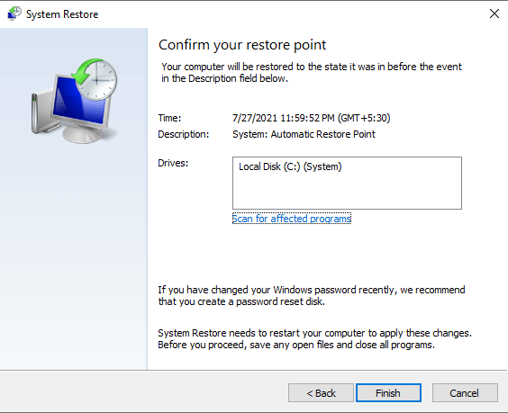 Fixing the unresponsive task manager problem by creating a system restore point