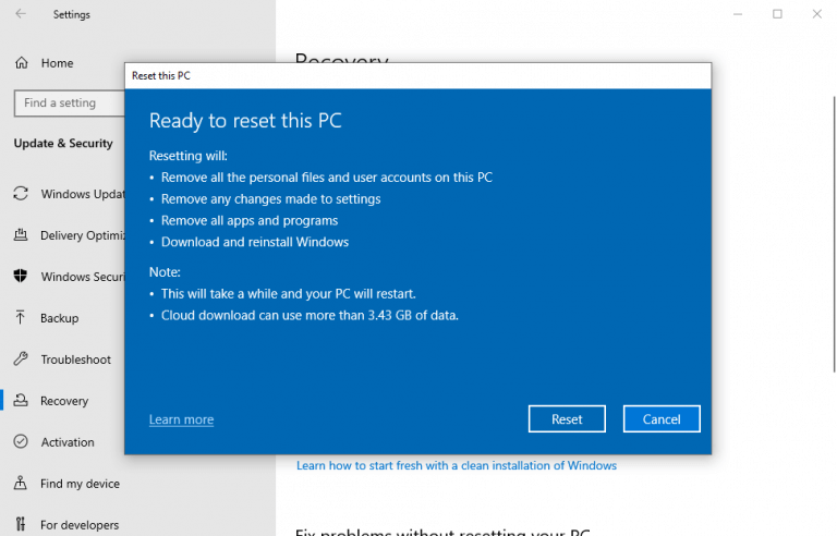 Factory resetting the pc from settings