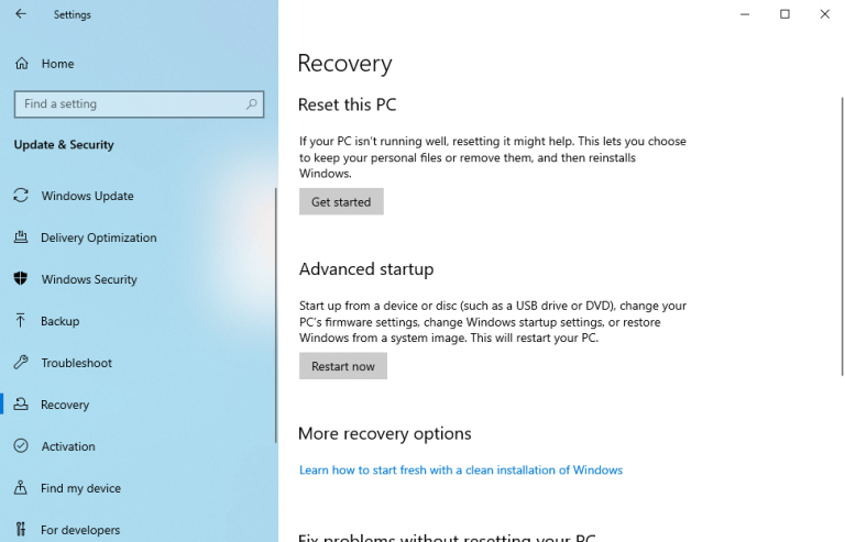 Windows factory reset settings