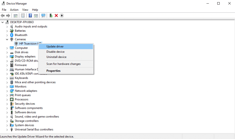 Updating a driver with device manager