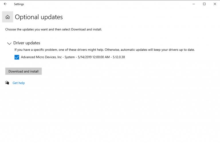 Updating device driver through windows update