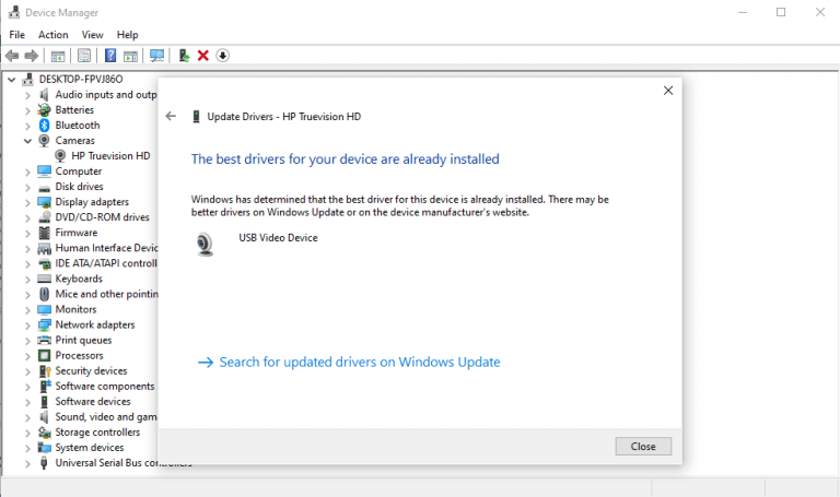 Updating windows drivers with device manager