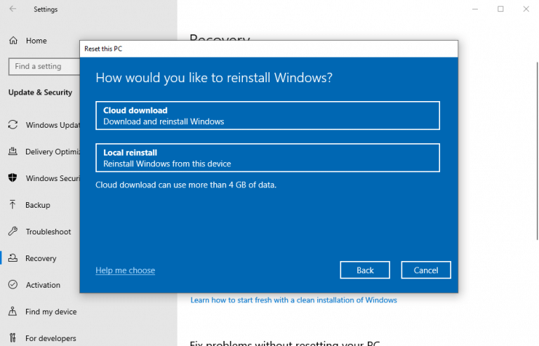 Install window from cloud or local drive