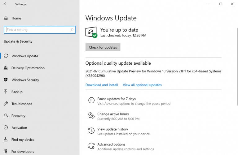 Windows update menu