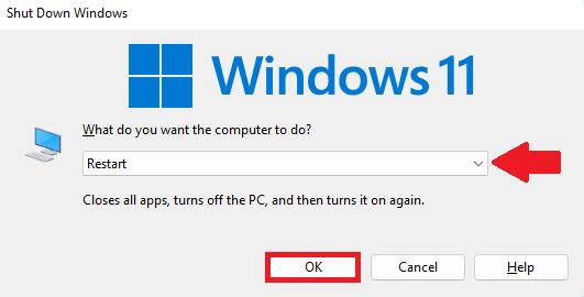 Restart windows 11