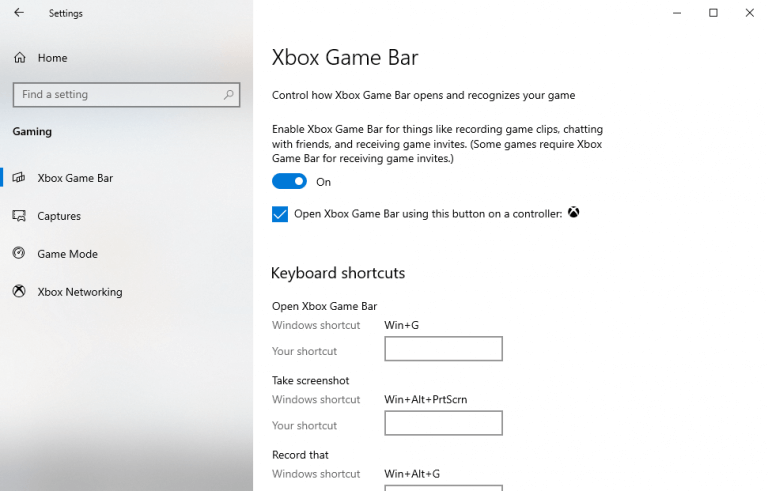 Changing the windows xbox game bar settings