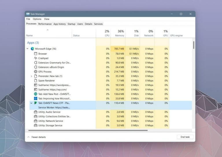 Microsoft makes it easier to see and understand edge processes in the windows 11 task manager - onmsft. Com - october 12, 2021