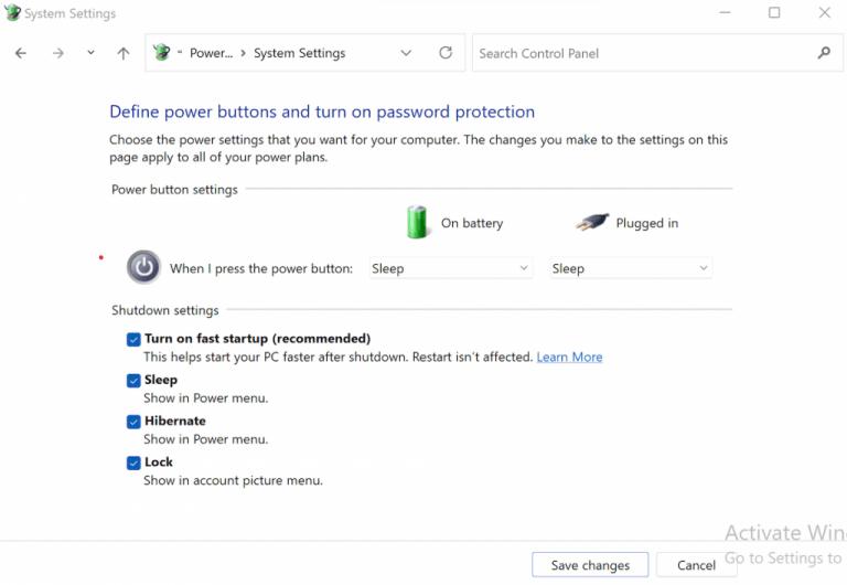 Activating the hibernate option from shutdown settings