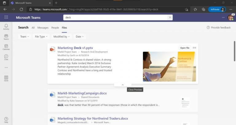 Microsoft teams public preview can now provide faster and more relevant search results - onmsft. Com - october 12, 2021
