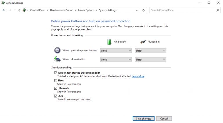 Turning on hibernate in windows 10 settings